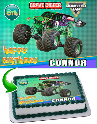 Grave Digger Edible Image Cake Topper Personalized Birthday Sheet Decoration Custom Party Frosting Transfer Fondant