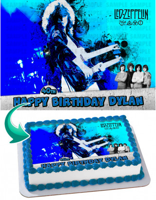 Led Zeppelin Band Edible Image Cake Topper Personalized Birthday Sheet Decoration Custom Party Frosting Transfer Fondant