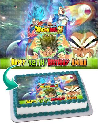 Dragon Ball Super - Broly Goku Vegeta Edible Image Cake Topper Personalized Birthday Sheet Decoration Custom Party Frosting Transfer Fondant