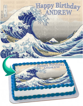 The Great Wave off Kanagawa Edible Image Cake Topper Personalized Birthday Sheet Decoration Custom Party Frosting Transfer Fondant