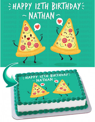 Pizza Edible Image Cake Topper Personalized Birthday Sheet Decoration Custom Party Frosting Transfer Fondant