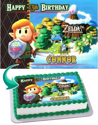 Legend of Zelda Links Awakening Edible Image Cake Topper Personalized Birthday Sheet Decoration Custom Party Frosting Transfer Fondant