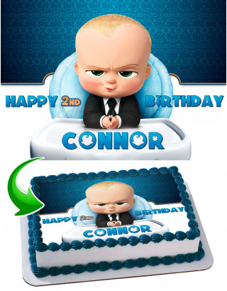 Baby Boss #2 Edible Image Cake Topper Personalized Birthday Sheet Decoration Custom Party Frosting Transfer Fondant