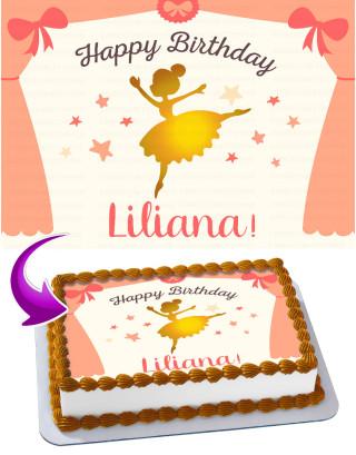 Ballerina Edible Image Cake Topper Personalized Birthday Sheet Decoration Custom Party Frosting Transfer Fondant