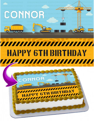 Construction Trucks Edible Cake Image Topper Personalized Birthday Sheet Decoration Custom Party Frosting Transfer Fondant