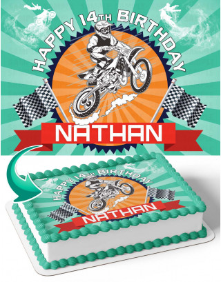 Motocross Edible Image Cake Topper Personalized Birthday Sheet Decoration Custom Party Frosting Transfer Fondant