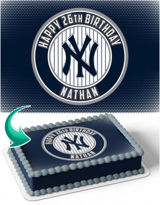New York Yankees NY Edible Image Cake Topper Personalized Birthday Sheet Decoration Custom Party Frosting Transfer Fondant
