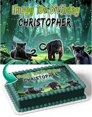 Panther Edible Image Cake Topper Personalized Birthday Sheet Decoration Custom Party Frosting Transfer Fondant