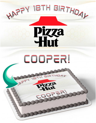 Pizza Hut Edible Image Cake Topper Personalized Birthday Sheet Decoration Custom Party Frosting Transfer Fondant