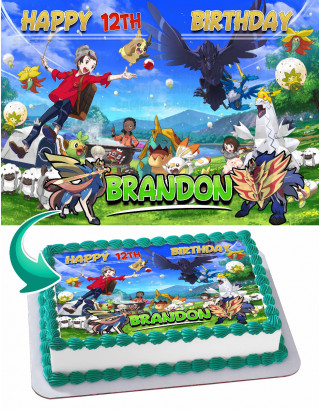 Pokemon Sword and Shield Edible Image Cake Topper Personalized Birthday Sheet Decoration Custom Party Frosting Transfer Fondant