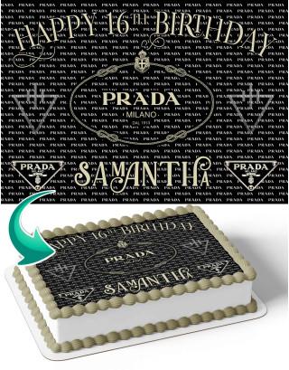Prada Milano Edible Image Cake Topper Personalized Birthday Sheet Decoration Custom Party Frosting Transfer Fondant