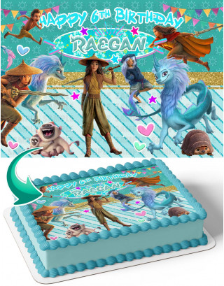 Raya Disney Edible Image Cake Topper Personalized Birthday Sheet Decoration Custom Party Frosting Transfer Fondant