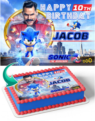 Soni the Hedgehog 2021 Edible Image Cake Topper Personalized Birthday Sheet Decoration Custom Party Frosting Transfer Fondant