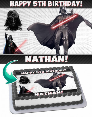 Darth Vader Edible Image Cake Topper Personalized Birthday Sheet Decoration Custom Party Frosting Transfer Fondant