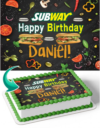 Subway Sandwich Edible Image Cake Topper Personalized Birthday Sheet Decoration Custom Party Frosting Transfer Fondant