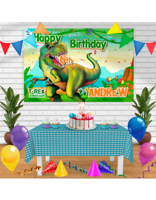 T Rex Dinosaurus Birthday Banner Personalized Party Backdrop Decoration