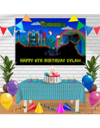 TERRARIA Birthday Banner Personalized Party Backdrop Decoration