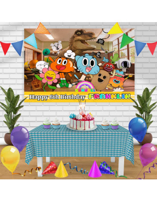 The Amazing World of Gumball Birthday Banner Personalized Party Backdrop Decoration
