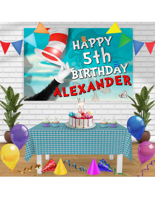 The Cat in the Hat Birthday Banner Personalized Party Backdrop Decoration