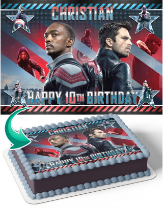 The Falcon and the Winter Soldier Edible Image Cake Topper Personalized Birthday Sheet Decoration Custom Party Frosting Transfer Fondant