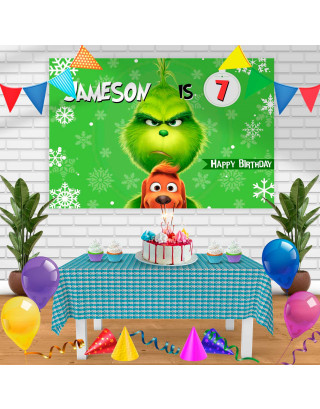 the grinch 2 Birthday Banner Personalized Party Backdrop Decoration