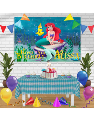 The Little Mermaid Birthday Banner Personalized Party Backdrop Decoration