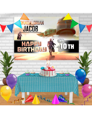The Mandolarian Birthday Banner Personalized Party Backdrop Decoration