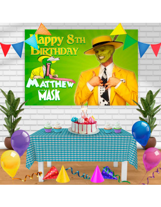 The mask Birthday Banner Personalized Party Backdrop Decoration