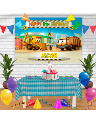 The Stinky and Dirty Show Birthday Banner Personalized Party Backdrop Decoration