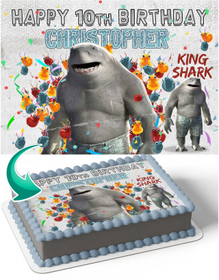 The Suicide Squad Shark King Edible Image Cake Topper Personalized Birthday Sheet Decoration Custom Party Frosting Transfer Fondant