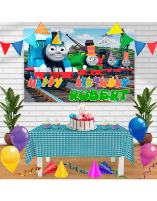 Thomas Birthday Banner Personalized Party Backdrop Decoration