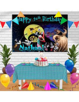 Tim Burtons The Nightmare Before Christmas Jack Skellington Sally Birthday Banner Personalized Party Backdrop Decoration
