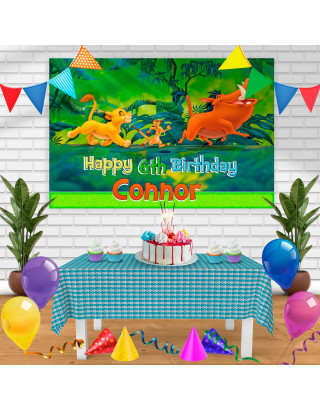 Timon Pumba Birthday Banner Personalized Party Backdrop Decoration