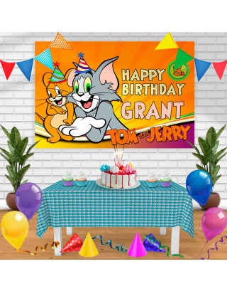 Tom and Jerry Birthday Banner Personalized Party Backdrop Decoration