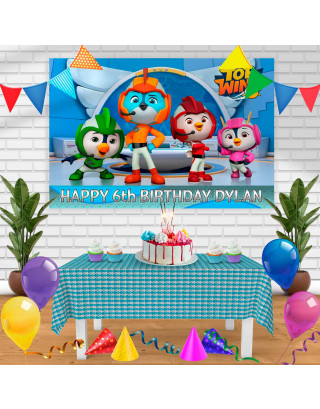 top wing Birthday Banner Personalized Party Backdrop Decoration