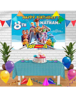 Toy story 4 Birthday Banner Personalized Party Backdrop Decoration