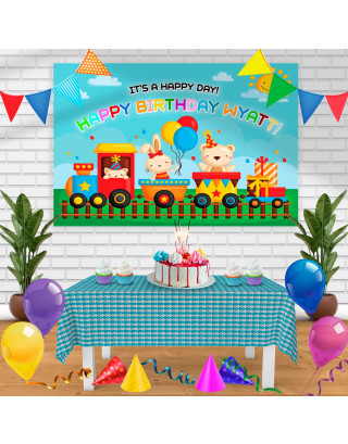Train Birthday Banner Personalized Party Backdrop Decoration