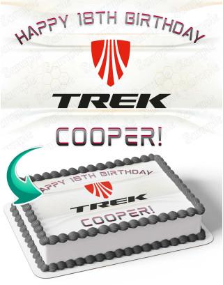 Trek Bicycle Bike Edible Image Cake Topper Personalized Birthday Sheet Decoration Custom Party Frosting Transfer Fondant