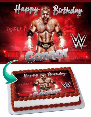 Triple H WrestleMania WWE Edible Image Cake Topper Personalized Birthday Sheet Decoration Custom Party Frosting Transfer Fondant