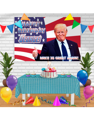 trump Birthday Banner Personalized Party Backdrop Decoration
