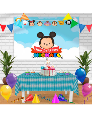 Tsum Tsum Birthday Banner Personalized Party Backdrop Decoration