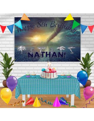 Twister Tornado Birthday Banner Personalized Party Backdrop Decoration