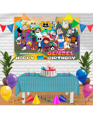 Undertale 1 Birthday Banner Personalized Party Backdrop Decoration