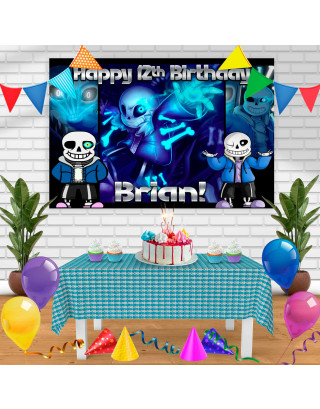 Undertale San Birthday Banner Personalized Party Backdrop Decoration