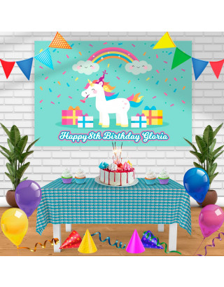 unicorn 1 Birthday Banner Personalized Party Backdrop Decoration