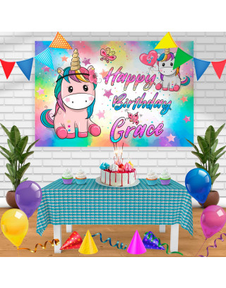 Unicorn 2 Birthday Banner Personalized Party Backdrop Decoration