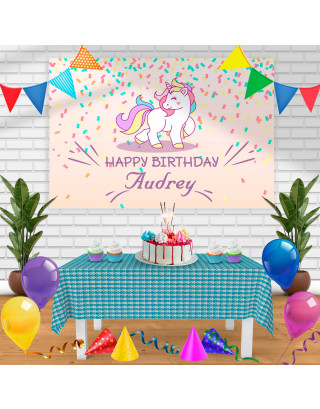 Unicorn 3 Birthday Banner Personalized Party Backdrop Decoration