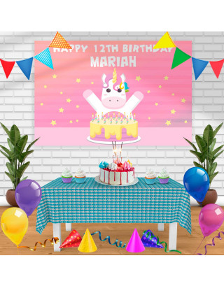 unicorn Birthday Banner Personalized Party Backdrop Decoration