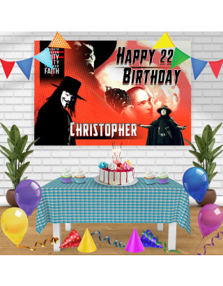 V for Vendetta Birthday Banner Personalized Party Backdrop Decoration