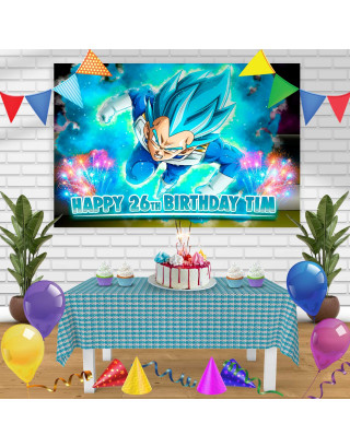 Vegeta Birthday Banner Personalized Party Backdrop Decoration